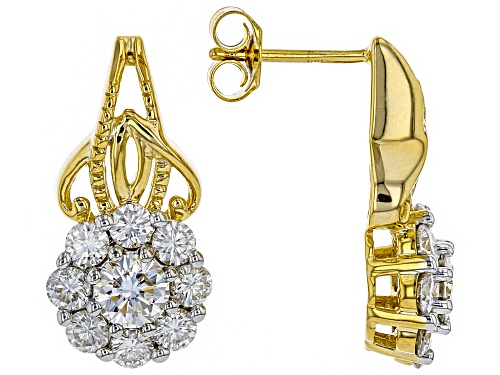 Photo of Pre-Owned MOISSANITE FIRE® 2.60CTW DEW ROUND 14K YELLOW GOLD OVER SILVER EARRINGS