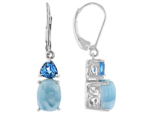 Photo of Pre-Owned 9x7mm Rectangular Cushion Larimar and 1.11ctw trillion Swiss Blue Topaz Rhodium Over Silve