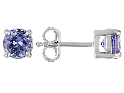 Photo of Pre-Owned 1.11ctw Round Tanzanite Rhodium Over Sterling Silver Solitaire Stud Earrings