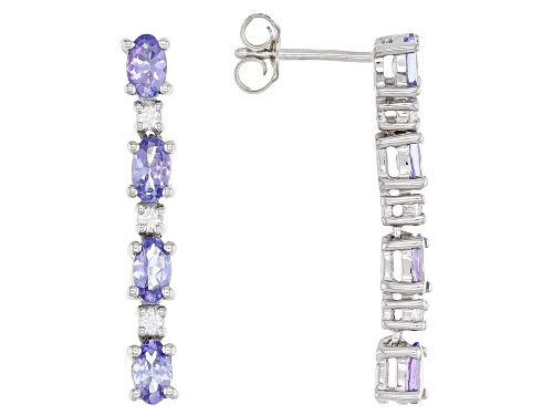Photo of Pre-Owned 1.81ctw Oval Tanzanite with .30ctw Round White Zircon Rhodium Over Sterling Silver Earring