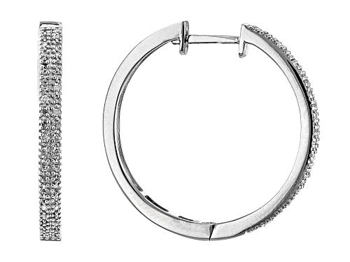 Photo of Pre-Owned 0.25ctw Round White Diamond Rhodium Over Sterling Silver Hoop Earrings