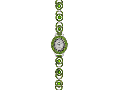 Photo of Pre-Owned Facets Of Time ™ 8.33ctw Round Chrome Diopside  Sterling Silver White Watch