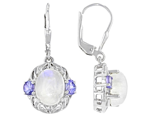 Photo of Pre-Owned 10x8mm Oval Rainbow Moonstone With 0.72ctw Oval Tanzanite Rhodium Over Sterling Silver Ear