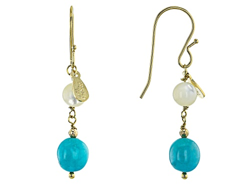 Pre-Owned Tehya Oyama Turquoise™ Sleeping Beauty Turquoise & Mother of Pearl 18k Gold Over Silver Ea