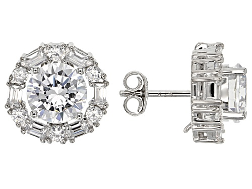 Pre-Owned Bella Luce ® 9.08ctw Rhodium Over Sterling Silver Interchangeable Earrings (6.48ctw Dew)