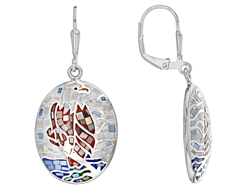 Photo of Pre-Owned Inlaid Mosaic Mother Of Pearl Eagle Sterling Silver Dangle Earrings
