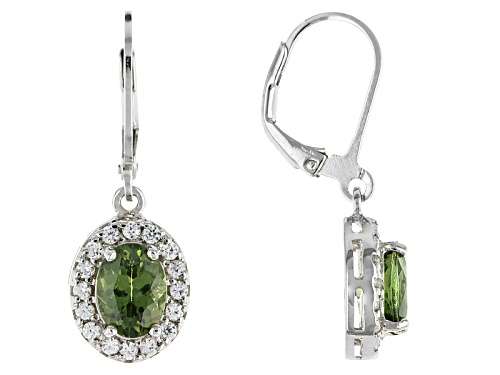 Photo of Pre-Owned 1.95ct Oval Green Apatite With .38ctw Round White Zircon Sterling Silver Dangle Earrings