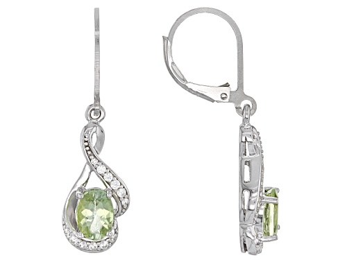 Photo of Pre-Owned 1.37ctw Oval Amblygonite And .16ctw Round White Zircon Sterling Silver Dangle Earrings