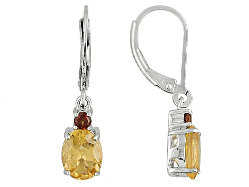 Photo of Pre-Owned 2.83ctw Oval Imperial Hessonite™ And Round Vermelho Garnet™ Sterling Silver Dangle Earring