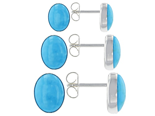 Photo of Pre-Owned Southwest Style By JTV™ Oval Sleeping Beauty Turquoise Silver Stud Earrings Set Of Three