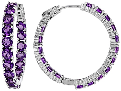 Photo of Pre-Owned 7.23ctw Round African Amethyst Rhodium Over Sterling Silver Inside/Outside Hoop Earrings