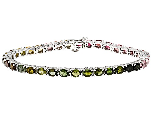 Photo of Pre-Owned 10.38ctw Oval Multi Tourmaline Rhodium Over Sterling Silver Bracelet - Size 7.5