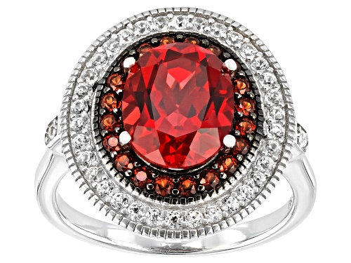 Photo of Pre-Owned 3.32ct Oval Lab Padparadscha Sapphire, .30ctw Garnet & .42ctw Zircon Rhodium Over Silver R - Size 6