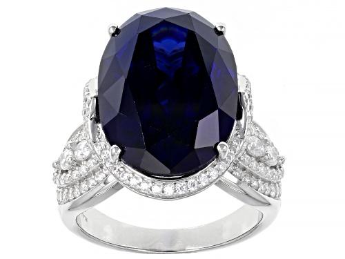 Photo of Pre-Owned Bella Luce ® 26.00ctw Esotica ™ Tanzanite And White Diamond Simulants Rhodium Over Sterlin - Size 5