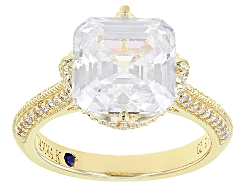 Photo of Pre-Owned Vanna K ™ For Bella Luce ® 9.07ctw Asscher Cut White Diamond Simulant Eterno ™ Yellow Ring - Size 5