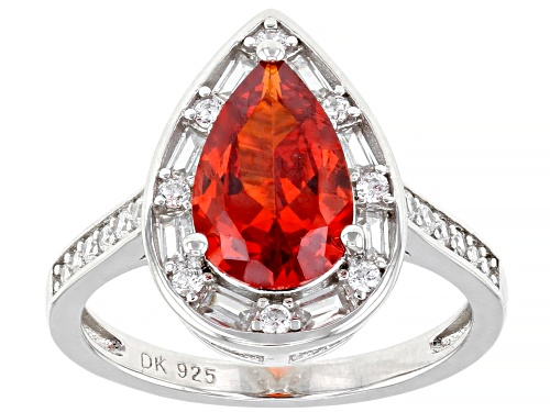 Photo of Pre-Owned Bella Luce ® 5.06ctw Orange Sapphire And White Diamond Simulants Rhodium Over Sterling Sil - Size 10