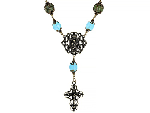 Photo of Pre-Owned Artisan Collection Of Ireland™ Connemara Marble And Glass Bead Brass Rosary Style Necklace - Size 19