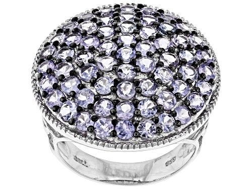 Photo of Pre-Owned 3.65ctw round tanzanite rhodium over sterling silver cluster ring. - Size 8