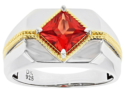 Photo of Pre-Owned 1.55ct Square Lab Created Padparadscha Sapphire Rhodium & 18k Gold Over Silver Two-Tone Me - Size 11