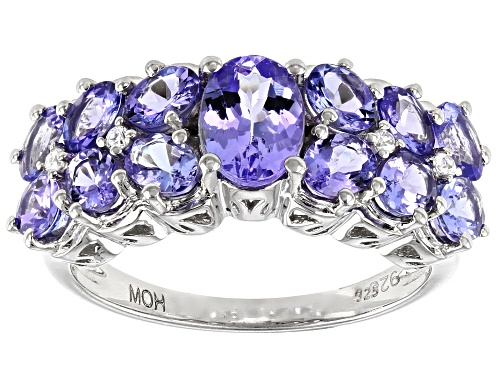 Photo of Pre-Owned 2.36ctw Oval Tanzanite with .04ctw Round White Zircon Rhodium Over Sterling Silver Band Ri - Size 7