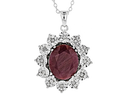 Photo of Pre-Owned 4.95CT INDIAN RUBY WITH .07CTW WHITE DIAMOND ACCENT RHODIUM OVER SILVER PENDANT WITH CHAIN