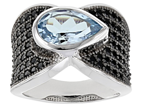 Photo of Pre-Owned 3.00ct Sky Blue Topaz With 1.50ctw Black Spinel Rhodium Over Sterling Silver Ring - Size 10