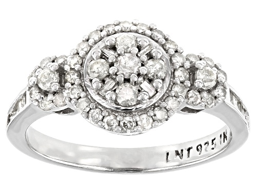 Photo of Pre-Owned 0.64ctw Round And Baguette White Diamond Rhodium Over Sterling Silver Cluster Ring - Size 6