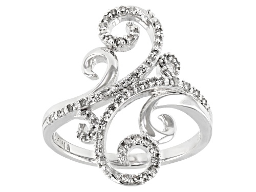 Photo of Pre-Owned 0.25ctw Round White Diamond Rhodium Over Sterling Silver Cocktail Ring - Size 6