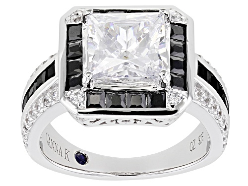 Photo of Pre-Owned Vanna K ™ for Bella Luce ® 6.44ctw Black And White Diamond Simulants Platineve ® Ring - Size 6