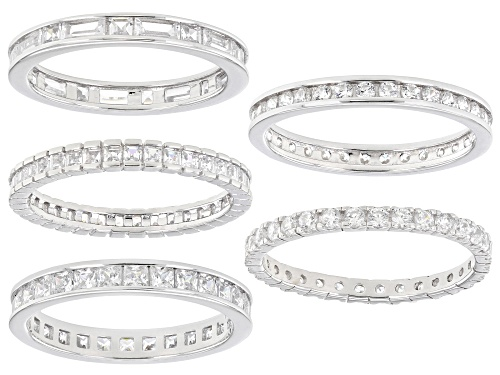 Photo of Pre-Owned Bella Luce ® 6.80ctw Rhodium Over Sterling Silver Eternity Band Rings- Set of 5 - Size 8