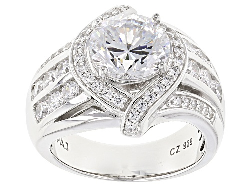 Photo of Pre-Owned Bella Luce® Dillenium Cut 6.40ctw Diamond Simulant Rhodium Over Sterling Silver Ring (3.81 - Size 6