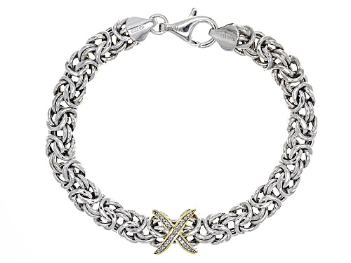 Photo of Pre-Owned Bella Luce® .08ctw Rhodium & 18k Yellow Gold Over Silver Diamond Accent Bracelet - Size 7.5