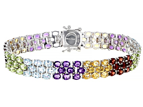 Photo of Pre-Owned 18.13ctw Multi Stone Rhodium Over Sterling Silver Bracelet - Size 7.25