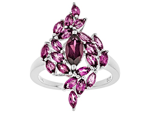 Photo of Pre-Owned 2.51ctw Marquise Raspberry Color Rhodolite Rhodium Over Sterling Silver Cluster Ring - Size 8
