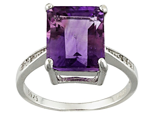 Photo of Pre-Owned 4.00ct Emerald Cut Brazilian Amethyst With .06ctw Cubic Zirconia Rhodium Over Silver Solit - Size 7