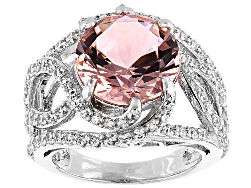 Photo of Pre-Owned Bella Luce ® Esotica™ 8.25ctw Morganite And White Diamond Simulants Rhodium Over Silver Ri - Size 7
