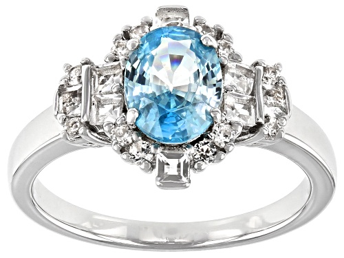 Photo of Pre-Owned 1.70ct Oval blue zircon with 0.31ctw topaz and 0.21ctw zircon rhodium over sterling silver - Size 8