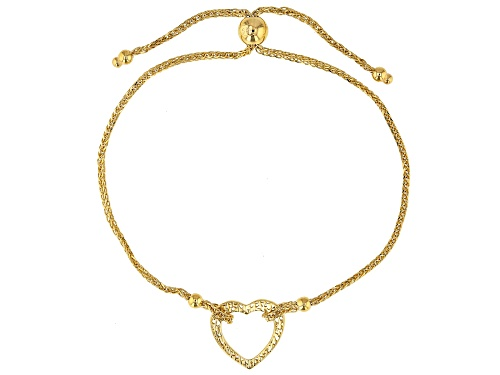 Photo of Pre-Owned 14K Yellow Gold Polished and Textured Heart Wheat Link 9.25 Inch Bolo Bracelet - Size 9.25