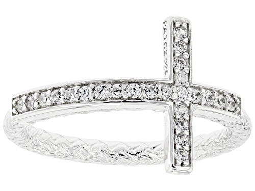 Photo of Pre-Owned Bella Luce ® 0.38ctw Rhodium Over Sterling Silver Cross Ring (0.24ctw DEW) - Size 7