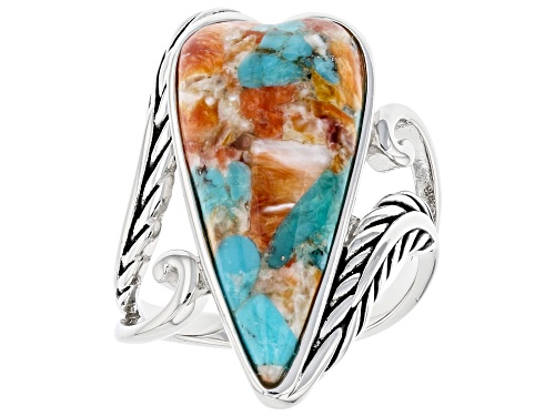 Photo of Pre-Owned Southwest Style By JTV™ Heart Shaped Turquoise and Spiny Oyster Shell Rhodium Over Silver - Size 11