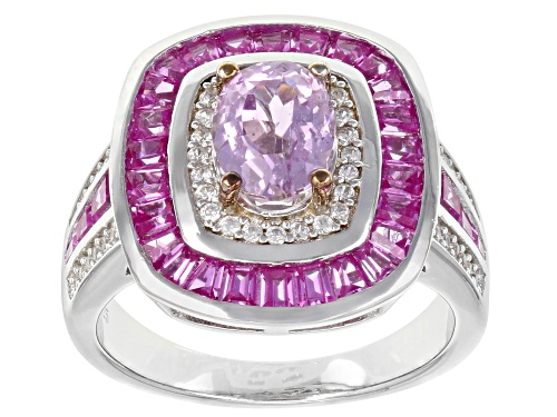 Photo of Pre-Owned 1.40CT KUNZITE, 1.24CTW LAB PINK SAPPHIRE,.28CTW ZIRCON RHODIUM OVER SILVER RING - Size 6