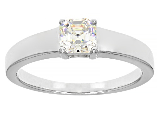 Photo of Pre-Owned .70CT ASSCHER CUT FABULITE STRONTIUM TITANATE RHODIUM OVER SILVER RING - Size 9