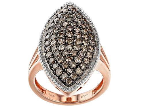 Photo of Pre-Owned 1.75ctw Round Champagne Diamond 14K Rose Gold Over Sterling Silver Cocktail Ring - Size 10