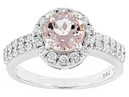 Photo of Pre-Owned 1.20ct Round Morganite With .75ctw Round White Zircon Sterling Silver Ring - Size 8