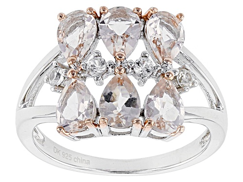 Photo of Pre-Owned 1.90ctw Pear Shape Morganite And .16ctw Round White Zircon Sterling Silver Ring - Size 7