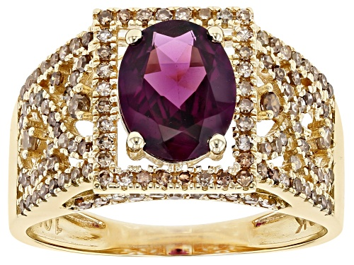 Photo of Pre-Owned 1.77ct Oval Grape Color Garnet Solitaire With .59ctw Round Champagne Diamonds 10k Yellow G - Size 7