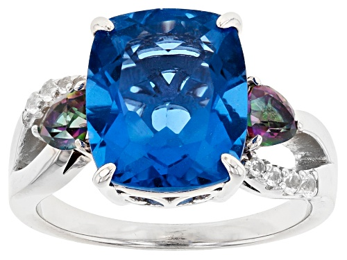 Photo of Pre-Owned 6.15ctw Color Change Fluorite, Mystic Topaz® & White Topaz Rhodium Over Sterling Silver Ri - Size 7