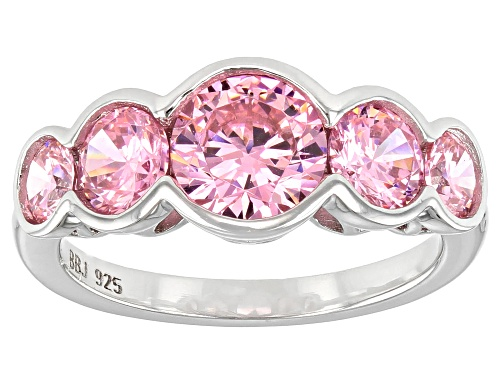 Photo of Pre-Owned Bella Luce ® 5.65ctw Pink Diamond Simulant Rhodium Over Sterling Silver Ring (2.70ctw DEW) - Size 7