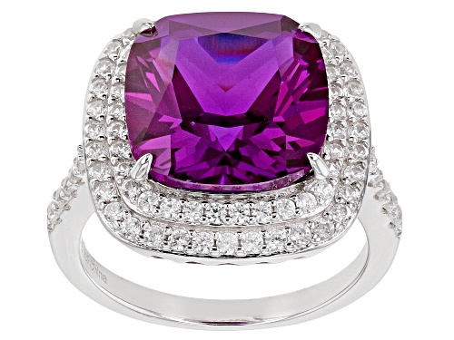 Photo of Pre-Owned 7.50ctw Lab Created Purple Sapphire with 1.75ctw White Zircon Rhodium Over Sterling Silver - Size 6