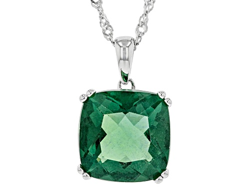 Photo of Pre-Owned 7.41ct Square Cushion Green Fluorite Rhodium Over Sterling Silver Solitaire Pendant With C